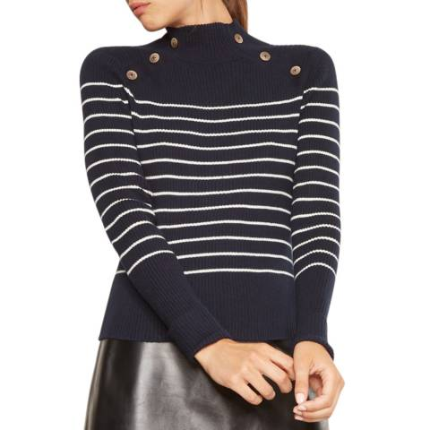 Rodier Navy/Ecru Mock Neck Cotton/Cashmere Blend Jumper