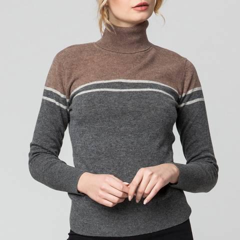 Rodier Grey Turtle Neck Colour Block Wool Jumper