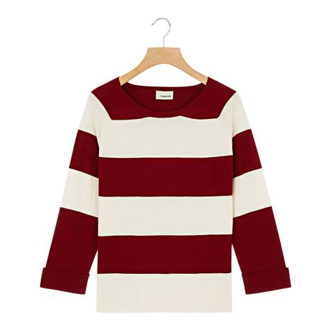 Rodier Burgundy Round Neck Cotton/Cashmere Blend Jumper