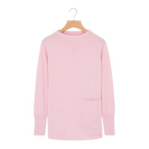 Rodier Light Pink Mock Neck Flared Cotton/Cashmere Blend Jumper