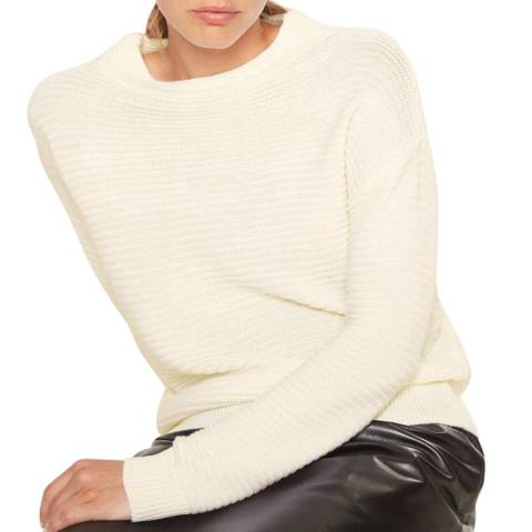 Rodier Ecru Round Neck Wool Blend Jumper