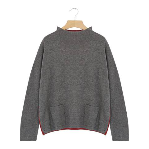 Rodier Grey Oversized Mock Neck Wool/Silk/Cashmere Blend Jumper