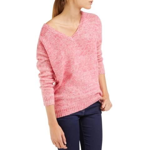 Rodier Pink Wide V Neck Wool/Alpaca Blend Jumper