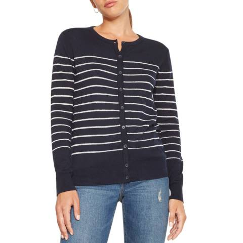 Rodier Navy/Silver Lurex Cotton/Cashmere Blend Cardigan