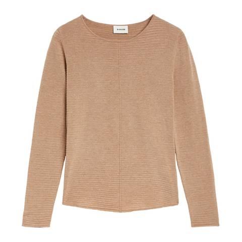 Rodier Sand Knit Line Round Neck Wool Blend Jumper