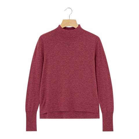 Rodier Raspberry Mock Neck Wool/Silk/Cashmere Blend Jumper