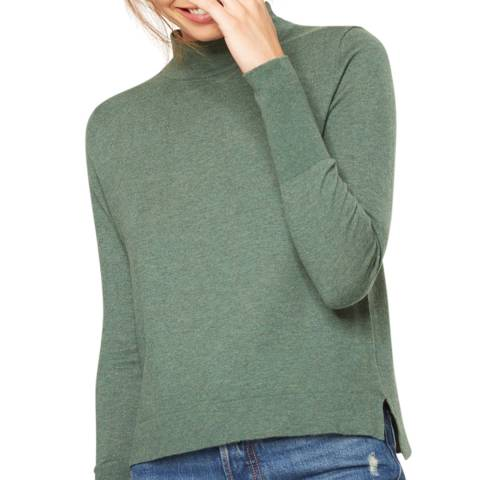 Rodier Green Mock Neck Wool/Silk/Cashmere Blend Jumper