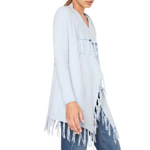 Rodier Women's Sky Blue Jacket With Fringes