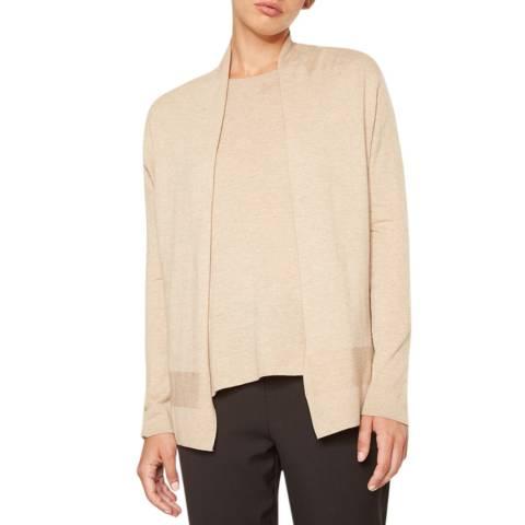Rodier Beige Open Wool/Silk/Cashmere Blend Cardigan