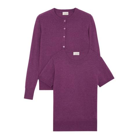 Rodier Magenta Classic Cashmere/Wool Blend Cardigan/T-Shirt Twin Set