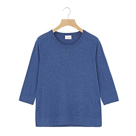 Rodier Blue Cropped Sleeves Wool/Silk/Cashmere Blend Jumper