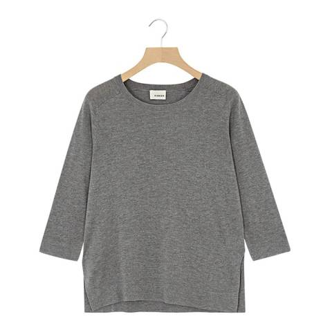Rodier Grey Cropped Sleeves Wool/Silk/Cashmere Blend Jumper