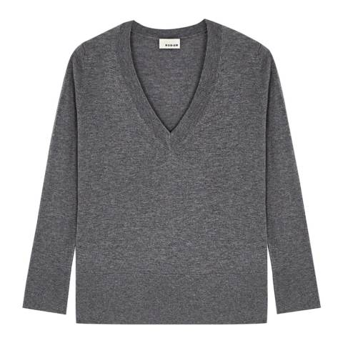 Rodier Grey Low V Neck Wool/Silk/Cashmere Blend Jumper