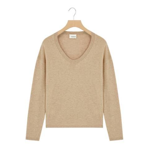 Rodier Beige Low Round Neck Wool/Silk/Cashmere Blend Jumper