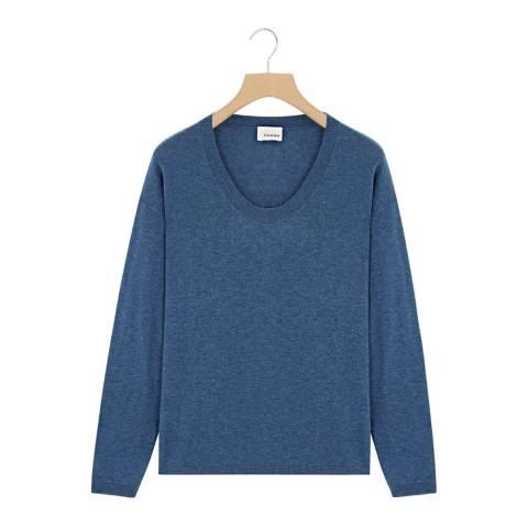 Rodier Blue Low Round Neck Wool/Silk/Cashmere Blend Jumper