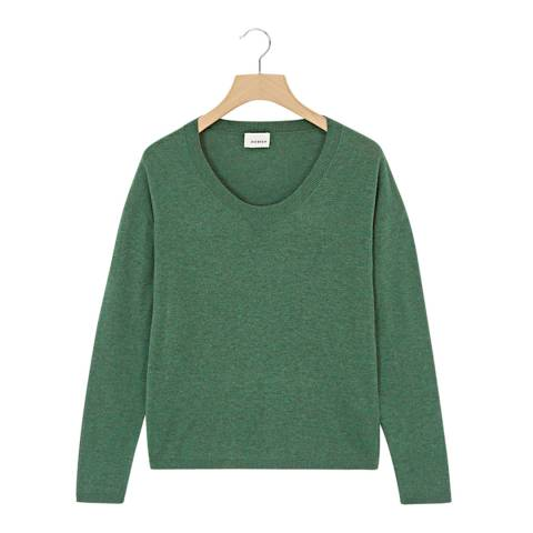Rodier Green Low Round Neck Wool/Silk/Cashmere Blend Jumper