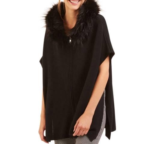 Rodier Black Fake Fur Hood Wool Blend Cape