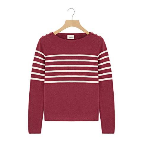 Rodier Raspberry Button Round Neck Wool/Silk/Cashmere Blend Jumper