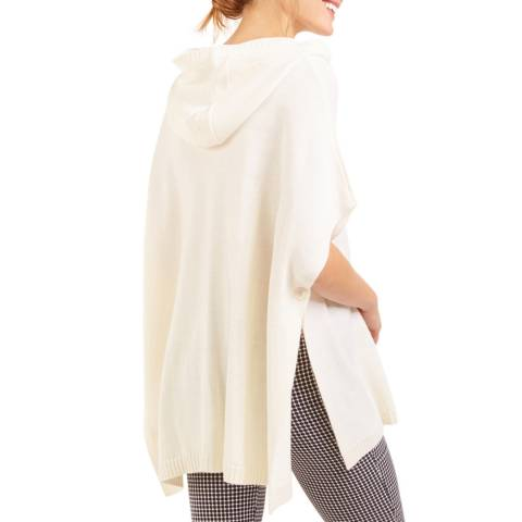 Rodier Ivory Hood Zip Wool Blend Cape