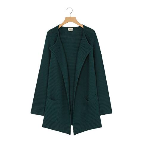 Rodier Spruce Green Long Ribbed Wool Blend Cardigan