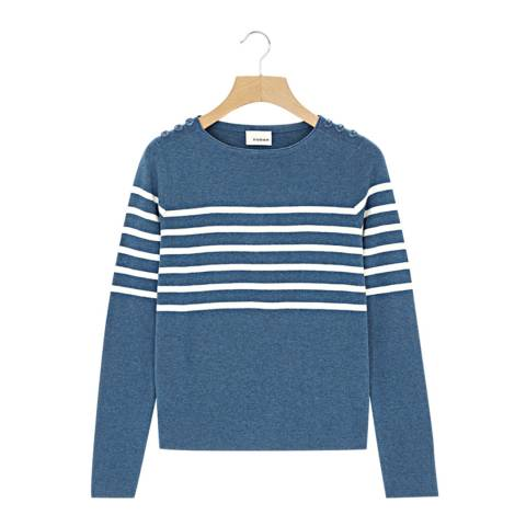 Rodier Blue Button Round Neck Wool/Silk/Cashmere Blend Jumper