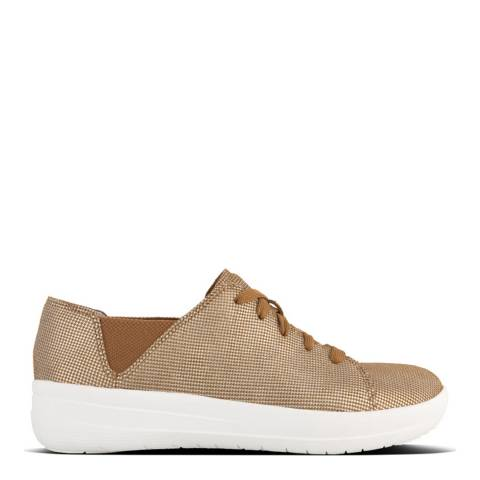FitFlop Pale Gold Houndtooth Print F-Sporty Lace-Up Sneaker