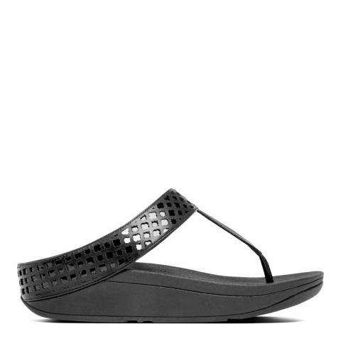 FitFlop Women's Black Leather Safi Toe Post Sandal