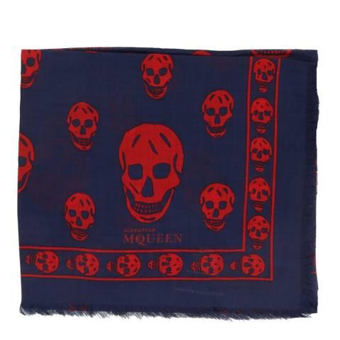 Alexander McQueen Navy/Red Skull Scarf