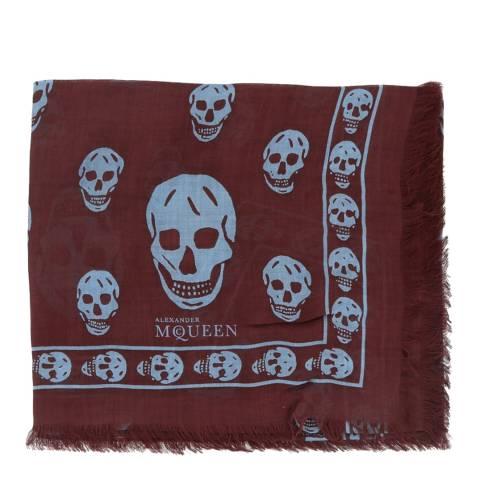 Alexander McQueen Burgundy/Blue Skull Scarf