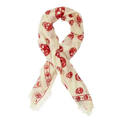 Alexander McQueen White/Orange Skull Scarf