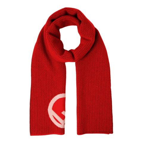 Fendi Red Wool Logo Scarf