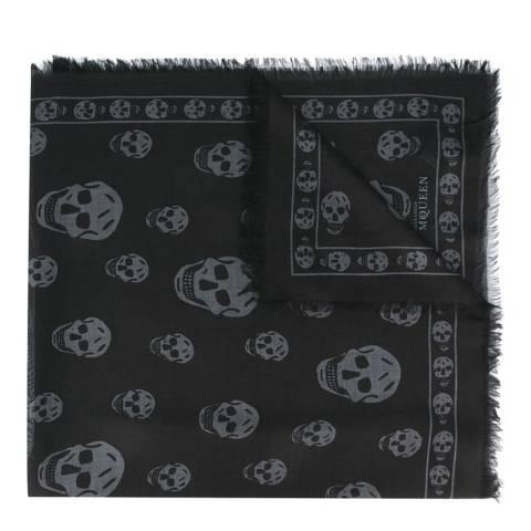 Alexander McQueen Grey/Dark Grey Skull Scarf