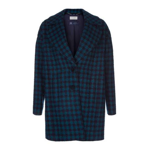 Hobbs London Navy/Green Check Rae Coat