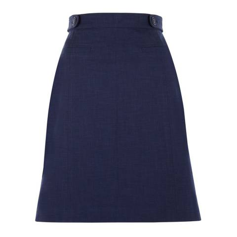Hobbs London Blue Cotton Blend Venice Skirt