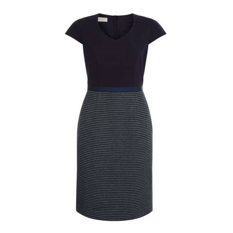 Hobbs London Navy Two Tone Saffie Dress