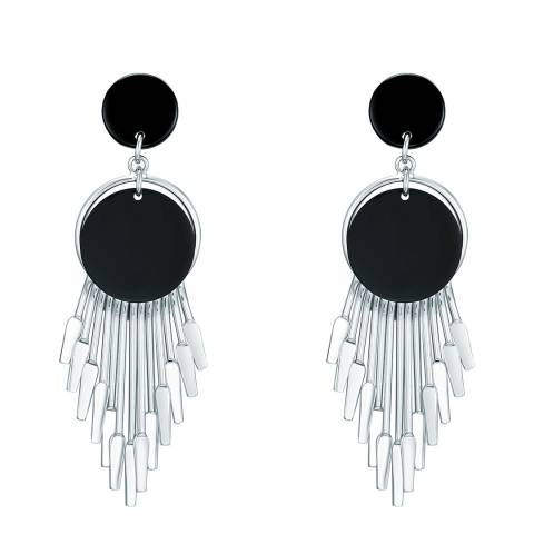 Tassioni Silver/Black Drop Earrings