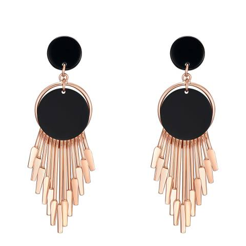 Tassioni Rose Gold/Black Drop Earrings
