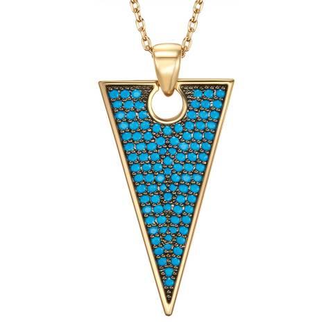 Tassioni Gold/Blue Triangle Necklace