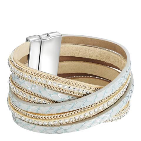 Tassioni Silver/Nude Faux Leather Bracelet