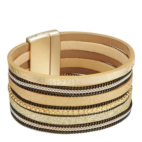 Tassioni Gold Faux Leather Bracelet