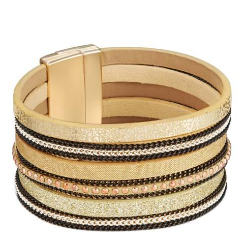 Tassioni Rose Gold Faux Leather Bracelet