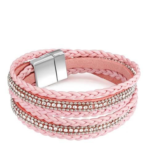 Tassioni Pink/Silver Faux Leather Bracelet