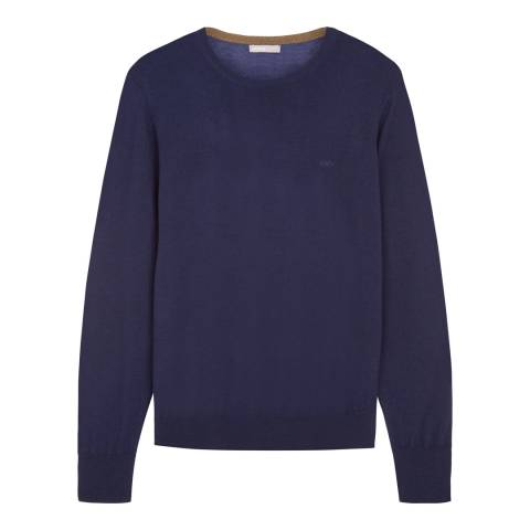 Jaeger Navy Merino Wool Crew Neck Jumper