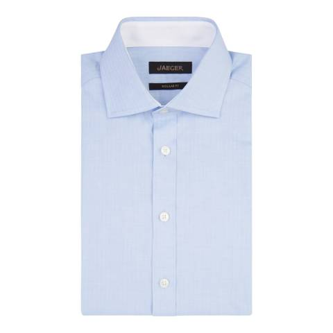 Jaeger Blue Herringbone Regular Cotton Shirt