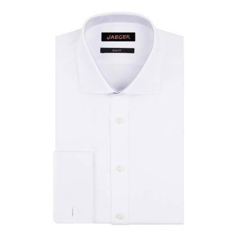 Jaeger White Dobby-Weave Slim Cotton Shirt