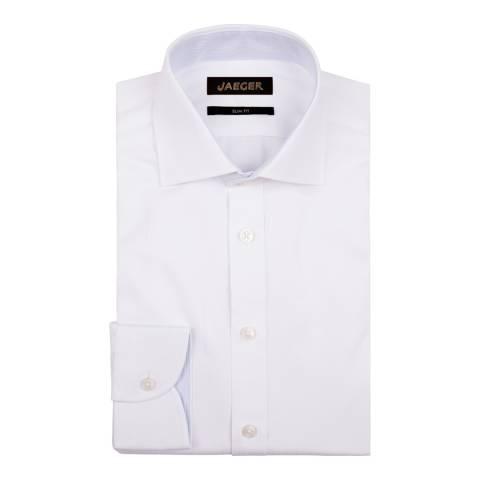 Jaeger White Fine Stripe Slim Cotton Shirt
