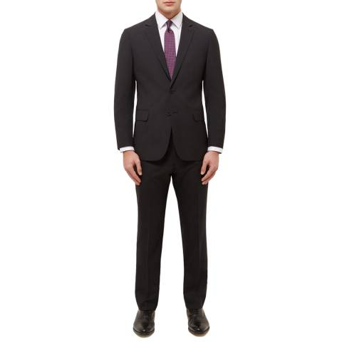 Jaeger Black Fine Grid Weave Regular Wool Blend Suit