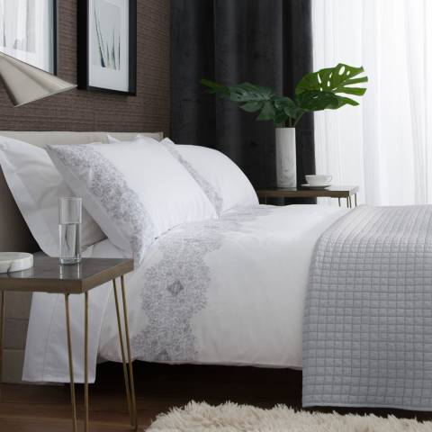 The White Room White/Grey Bornholm Single Duvet Set