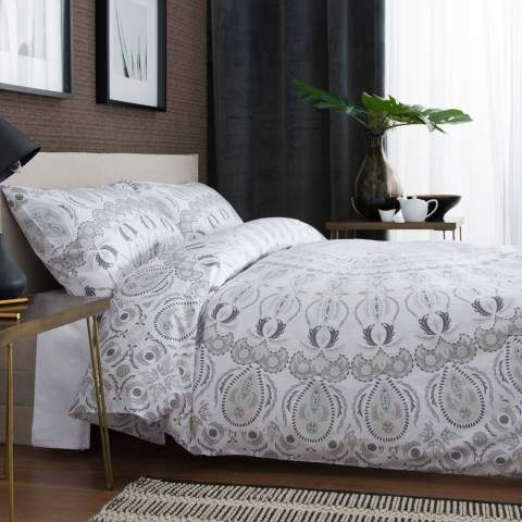 The White Room White/Grey Operalia Blue Double Duvet Set