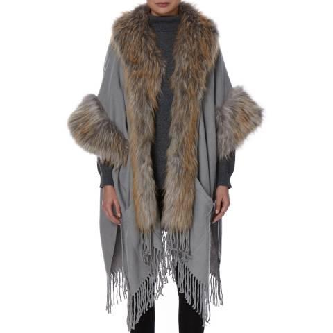 JayLey Collection Grey Cashmere Blend Faux Fur Cape Coat